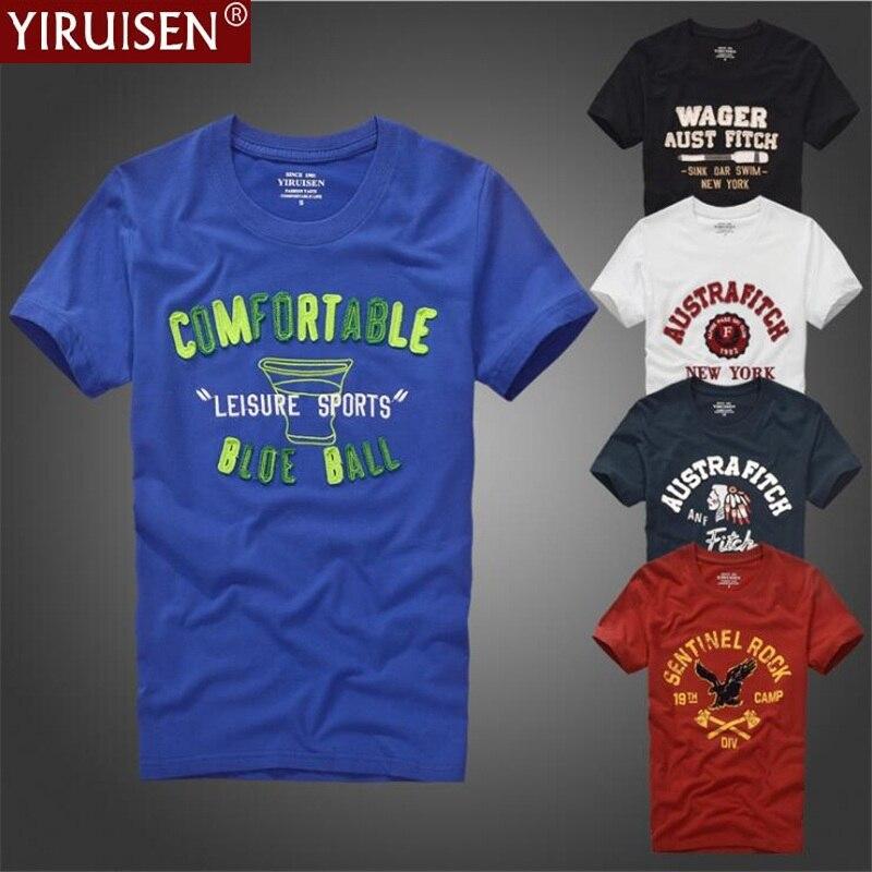 Free shipping YIRUISEN Brand Clothing Applique Design Short Sleeve T Shirt Men 100% Cotton O-neck Fashion Summer Top Tees Tshirt