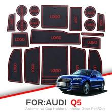 ZUNDUO Porta slot pad Per Audi Q5 FY 2017 2018 2019 Porta per Interni Pad Anti-Slip Gomma di Zerbino