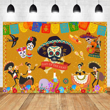 NeoBack Day of The Dead Backdrop Mexicos Skull  Skeleton Event Banner Photoshoot Background