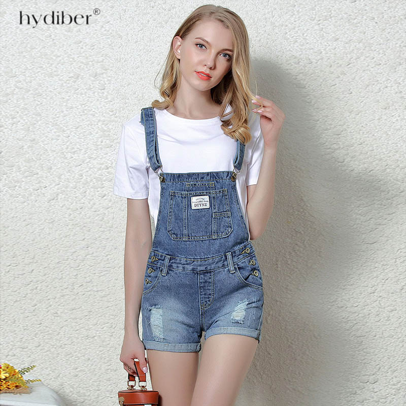 Short denim overalls women jumpsuit high waist casual fashion jeans playsuit blue dungarees 2018 summer clothing