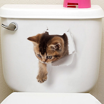 Cats 3D Wall Sticker Toilet Stickers Hole View Vivid Dogs Bathroom Home Decoration Animal Vinyl Decals Art Sticker Wall Poster 27