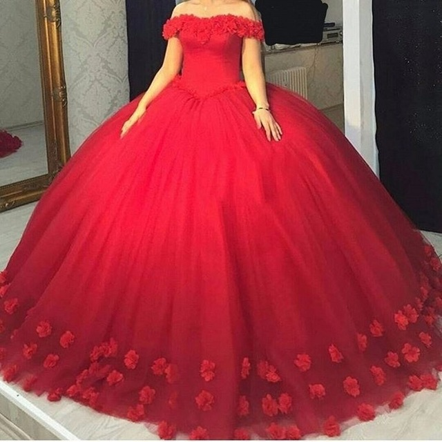 Glamour Red Handmade Flowers Prom Dresses with Off Shoulder Big Ball ...