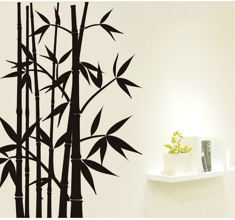 free shipping home decor mural vinyl wall sticker black bamboo