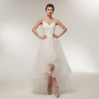Белый простой High Low Тюль Свадебные платья v образным вырезом Спагетти ремень A Line длинное платье до пола Длина Свадебные платья индивидуальн