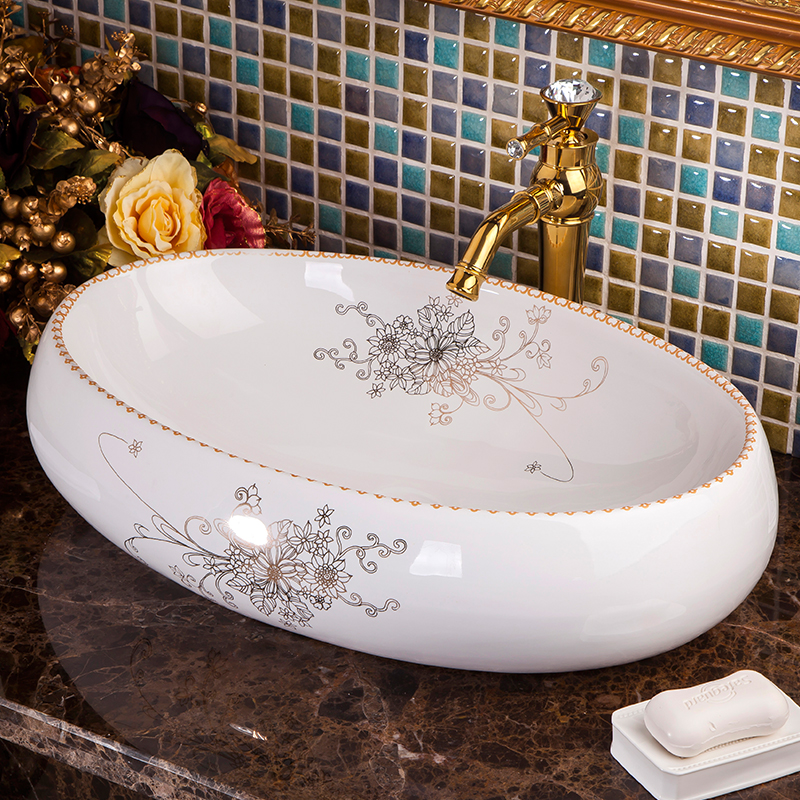 Europe Vintage Style Lavobo Ceramic Washing Basin Bathroom Counter Top Sink Blue And White Hand Painted In Sinks From Home