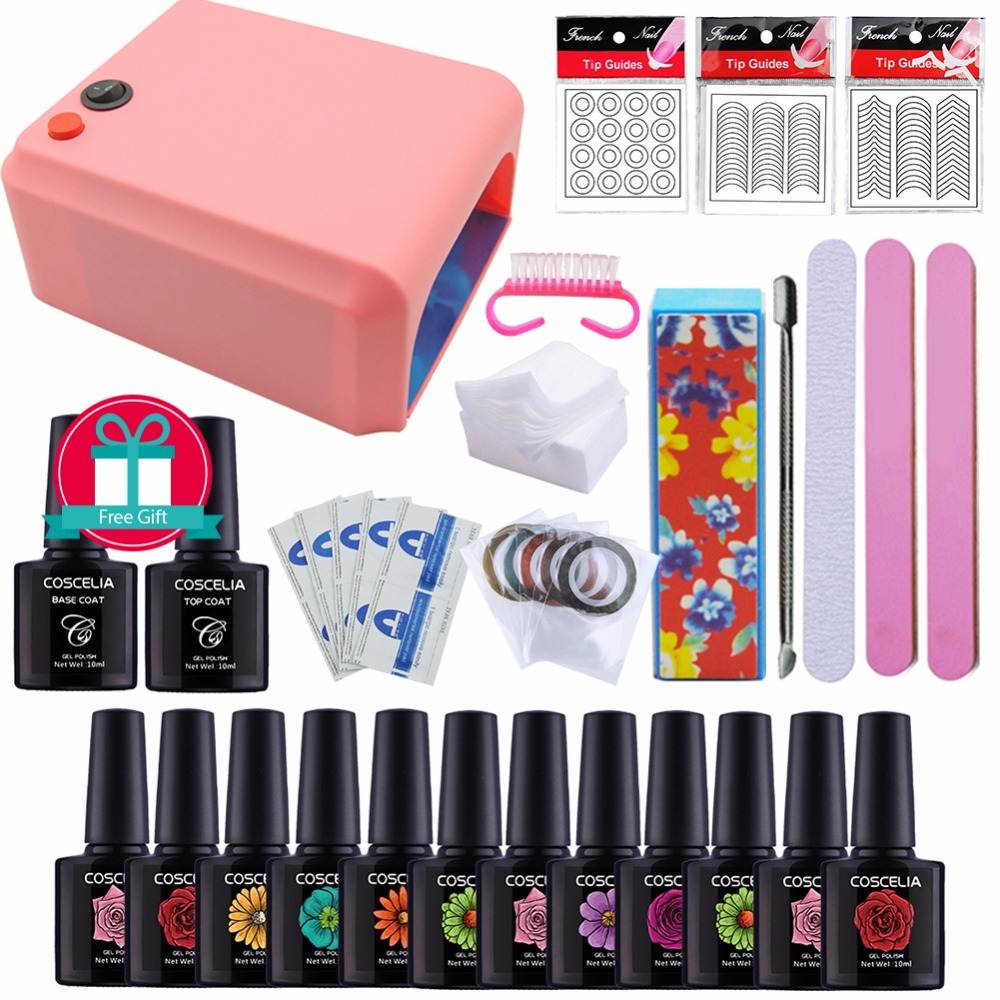 Set For Manicure Gel Nail Polish Set UV Gel Polish 36W UV Lamp For Nail Tools