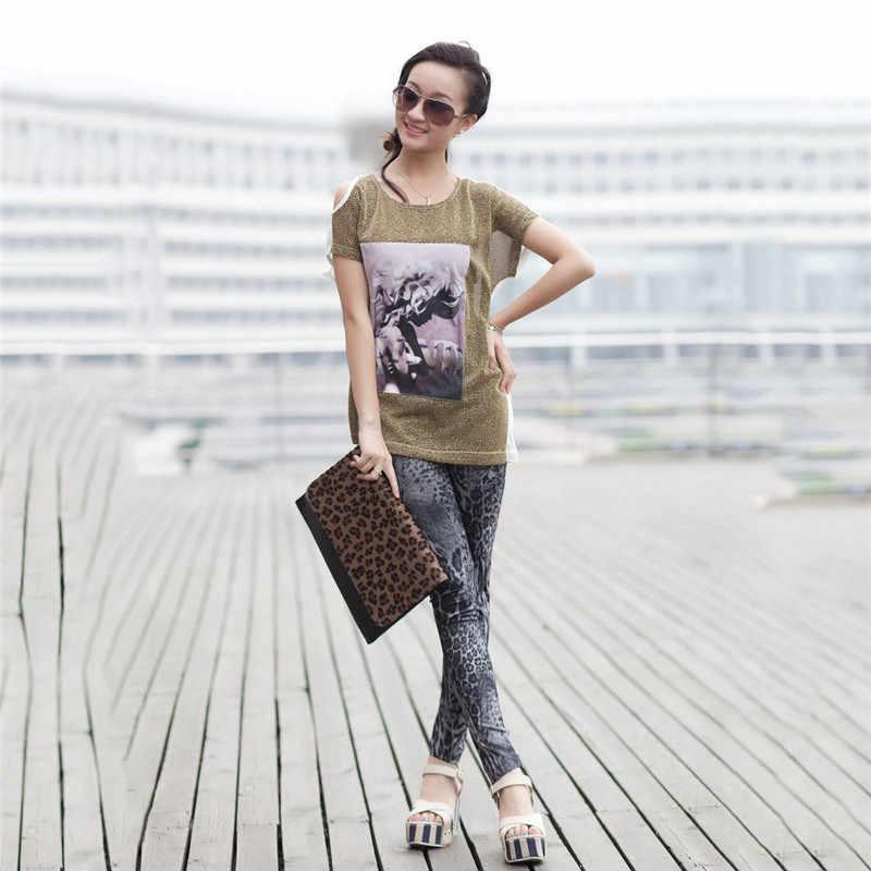 Vrouwen Mode Luipaard Print Stretch Jeans dame Denim Faux Jean Broek Sexy Strakke Slanke Broek Broek