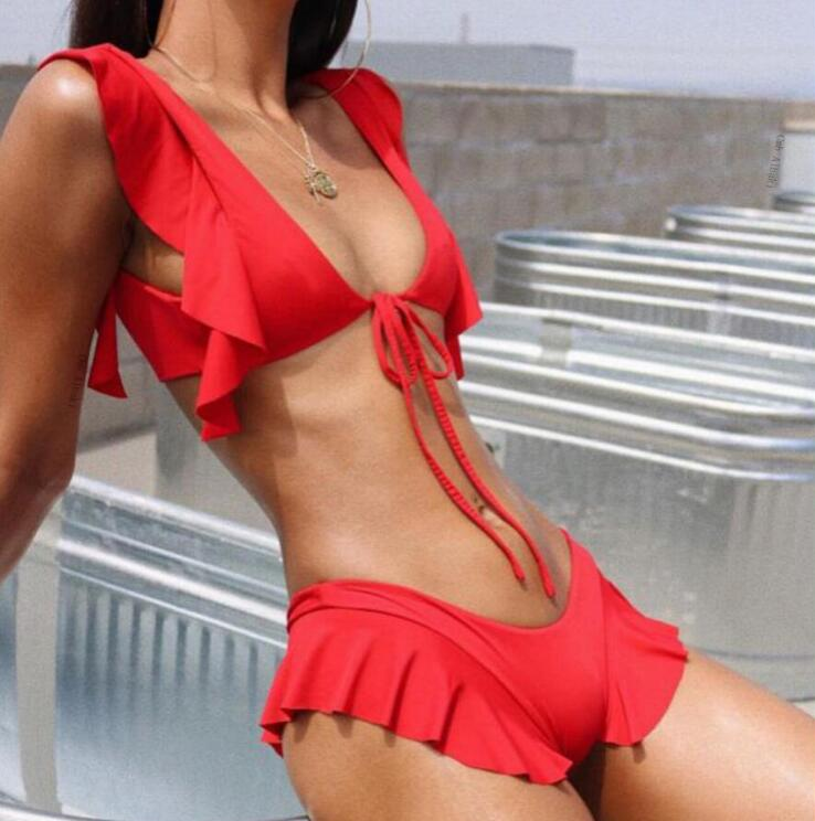 2019 Ruffled halter two-piece suits Brazil extreme bikini micro swimsuit push up sexy swimwear women bathing suit Summer