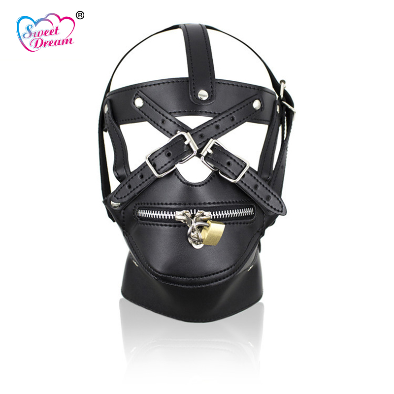 Sweet Dream Black PU Leather Zipper Masks Hoods Lock Key Role Play Sex Accessories Sex Tools for Sale Sex Toys for Couple DW-437