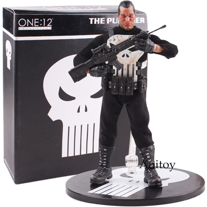 MEZCO One:12 The Punisher 1/12 Scale PVC Action Figure Collectible Model Toy (real Clothes) 16.5cm the punisher action figures 1 12 scale pvc action figure collectible model toy anime punisher superhero toys