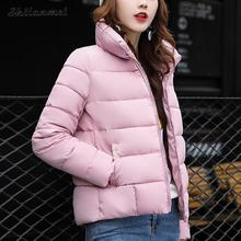 2017 winter coat women long sleeve parkas padded stand collar zip solid slim jacket poacket casual coat female 5 color m-xxl