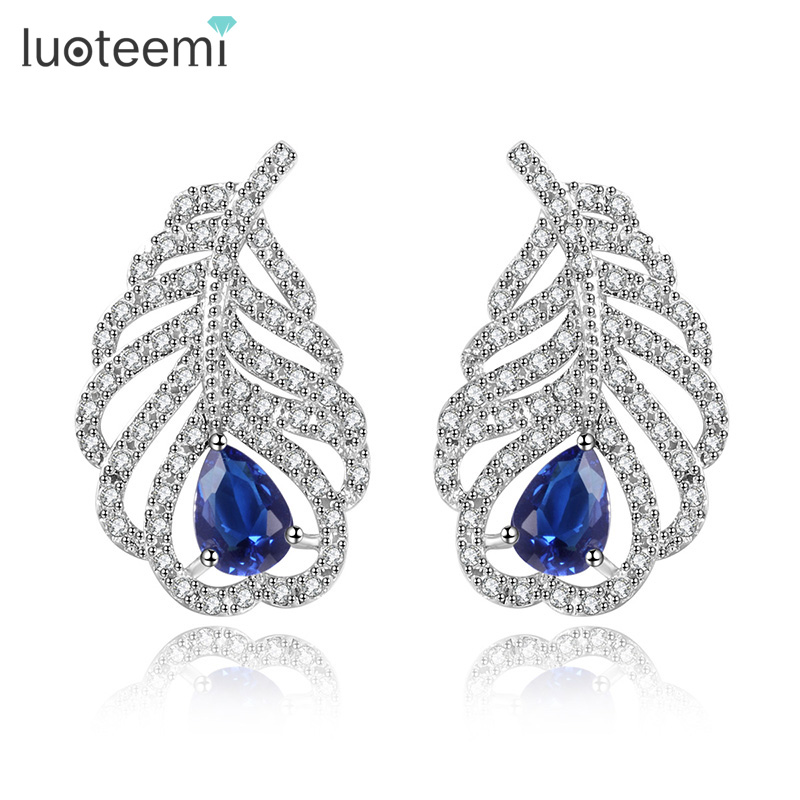 LUOTEEMI Four Color Choose Charm Feather Earrings with Small Tiny CZ Stone White Gold Color Luxury