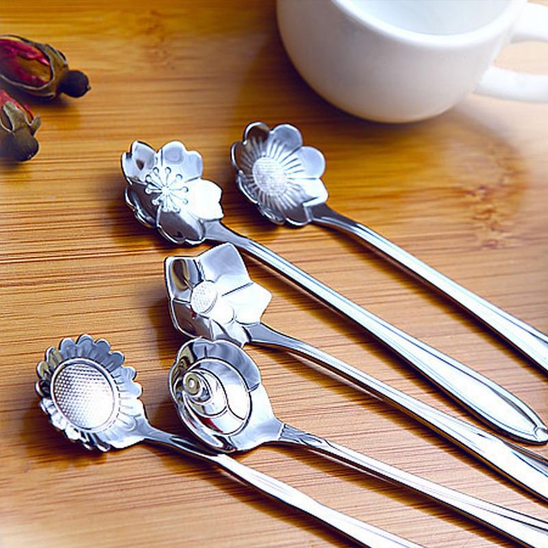 5pcs Stainless Steel Tableware Flower Shape Spoons Sugar Silver Coffee Spoon Teaspoons Ice Cream Flatware Kitchen Tool Mayitr