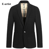 E artist Mens Blazers Jackets Slim Fit Business Casual Autumn Winter Woolen Coat Suits Overcoat Peacoat Plus Size 5XL X22