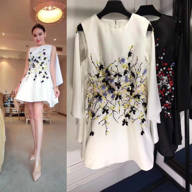The new dress robe femme 2018 fashion evening dresses unique shoulder small cloak design three dimensional flowers women dress