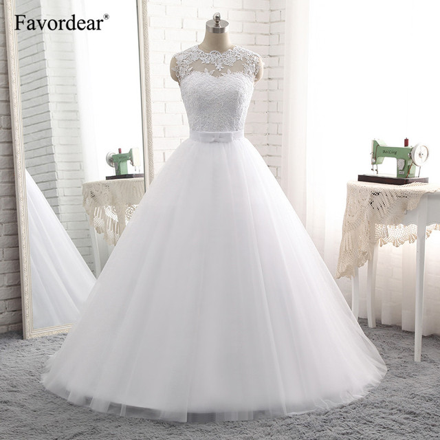 Favordear Real Photos 2018 Vestido De Noiva Vintage Lace Wedding Dress Robe De Mariage Appliques Lace Up Bridal Gowns