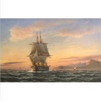hand painted decorative landscape Oil painting seascape ship big sail boat on ocean in sunset of Cairo canvas Living room decor