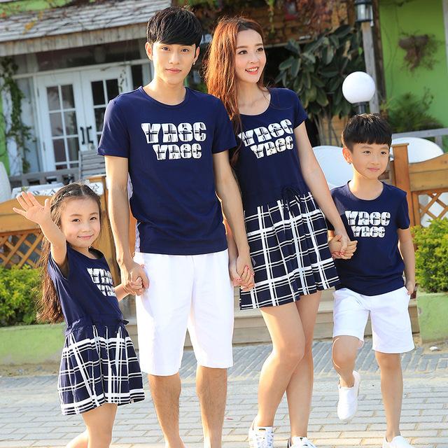 Preax Crianças Família Combinando Roupas de Verão Da Família Família Olhar Roupas Combinando Vestido de Mãe e Filha pai e filho t shirt calças set