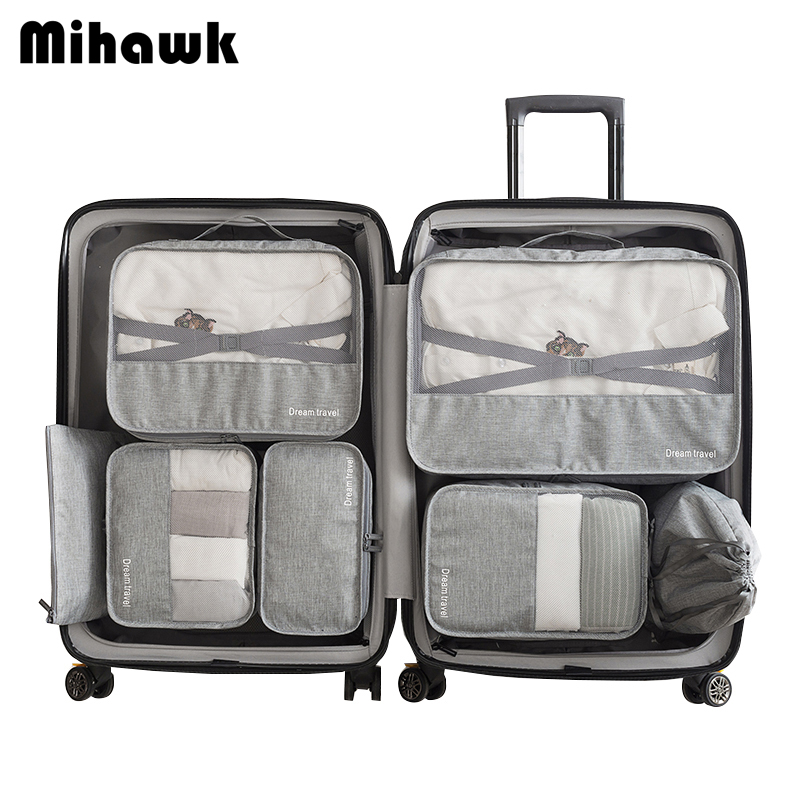 Mihawk Waterproof Travel Tote System Durable 7 Pieces One Set Packing Cube Unisex Clothing Sorting Large Capacity Of Tidy Pouch