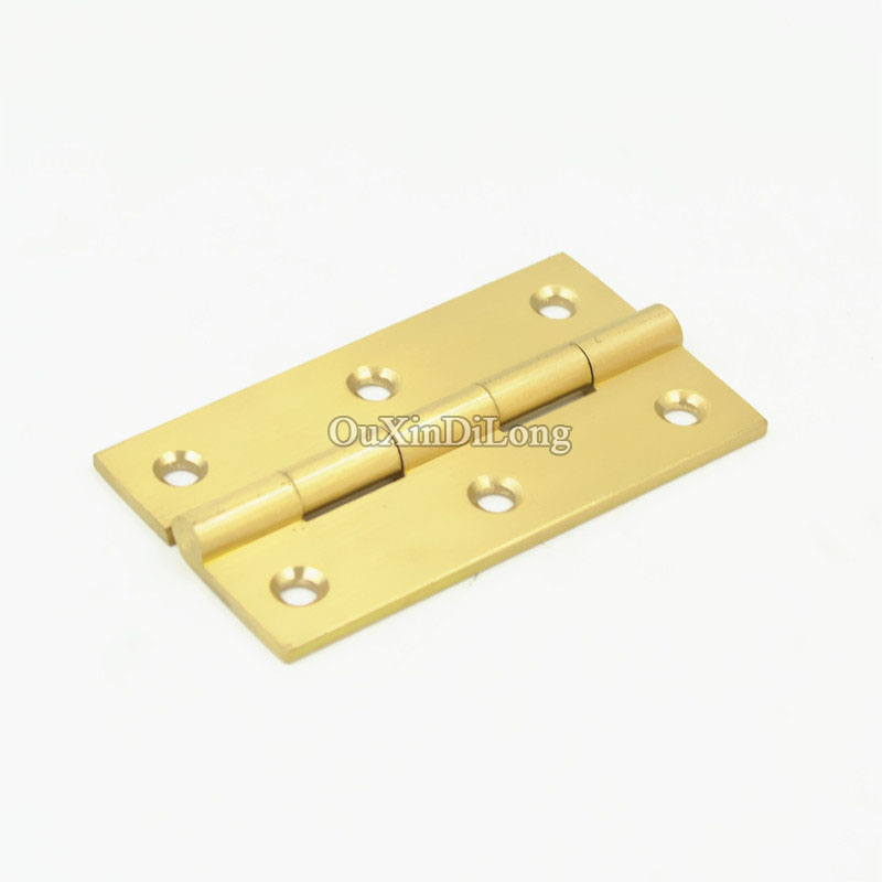 High Quality 4PCS 3Inch Solid Brass Cupboard Cabinet Door Folding Butt Hinges Drawer Hinge Furniture Accessories 2pcs set stainless steel 90 degree self closing cabinet closet door hinges home roomfurniture hardware accessories supply