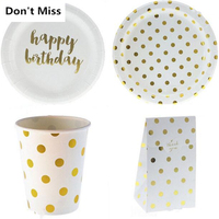 Golden Dot paper Plates Cups Straws Disposable Tableware for wedding happy Birthday Party Decorations Adult/Kids Party supplies