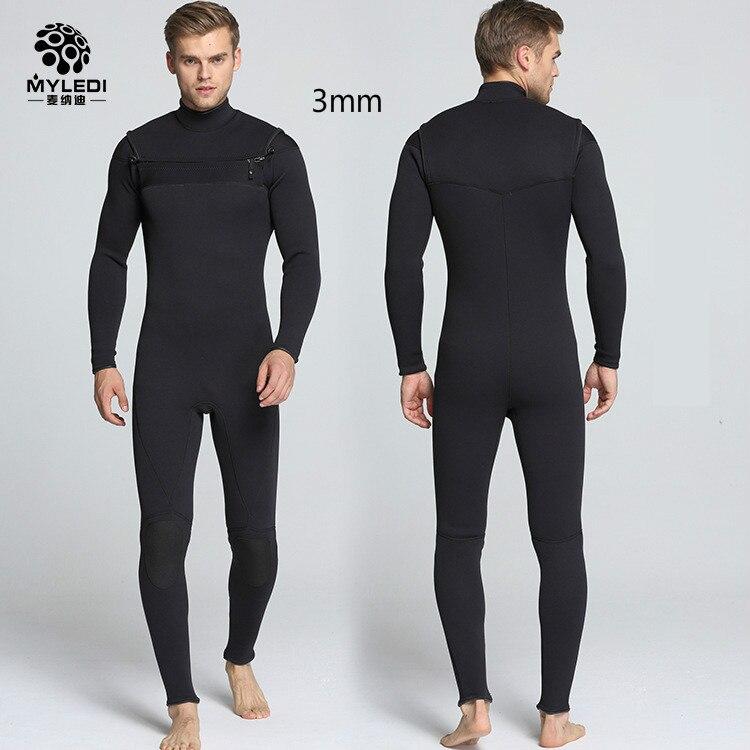 Néoprène 3 MM hommes combinaison de plongée Surf vêtements poitrine avant d'ouvrir fermeture à glissière contre froid chaud maillot de bain pour homme taille S-XXL