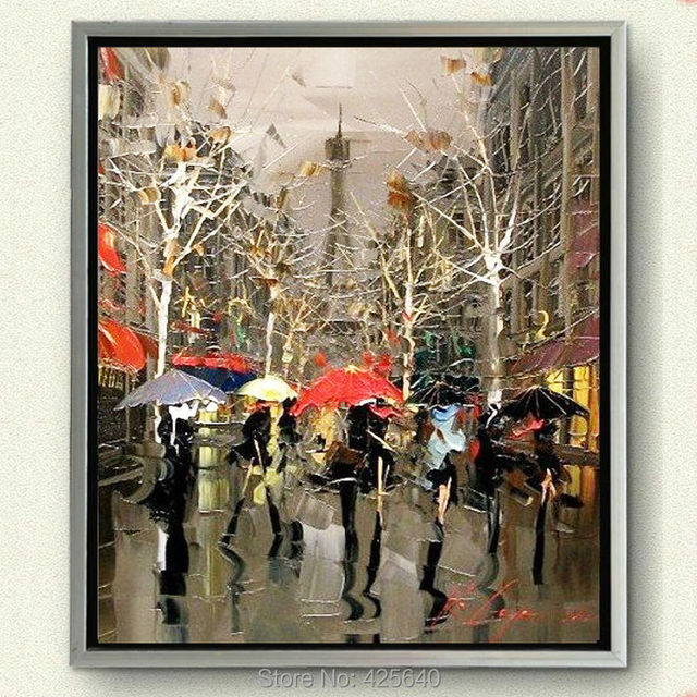Paris Street Home Decoration Hand Painted Oil Painting Wall Art Canvas Pictures For Living Room
