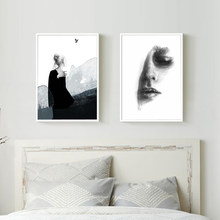 Cuadros Modern Abstract Girls Poster Print Black and White Wall Pop Art Painting Canvas Picture Living Room Creative Home Decor(China)