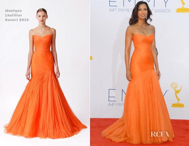 Padma Lakshmi 2013 Emmy Awards Sweetheart Orange Tulle Mermaid Evening Dress Red Carpet Celebrity Dresses
