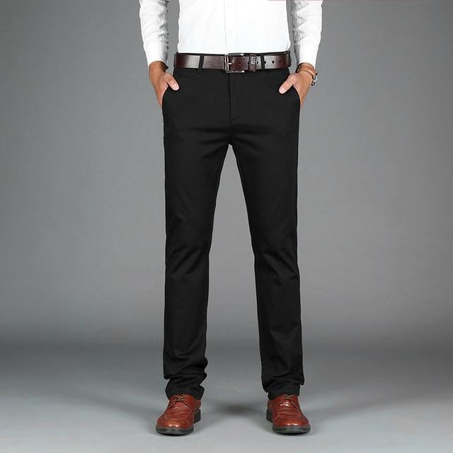 a4030c166 Rey Brillante Para Hombre Negro Azul Color Delgado Chino Suave Denim Jeans  Stretch pantalones De Vestir