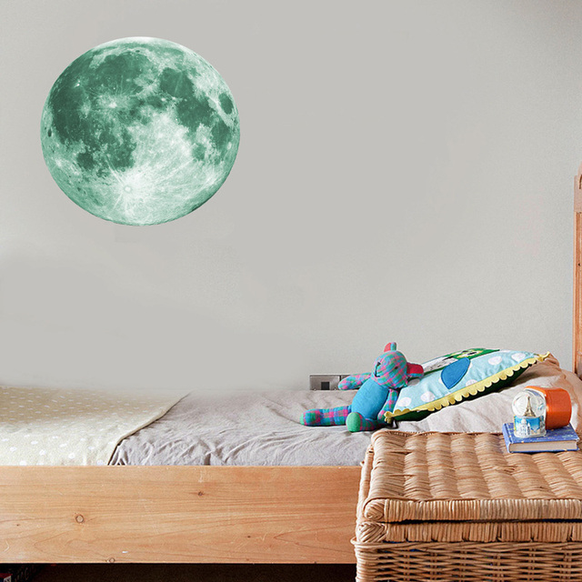 30cm Luminous Moon 3D Wall Sticker for kids room living room bedroom decoration home decals Glow in the dark Wall Stickers 3