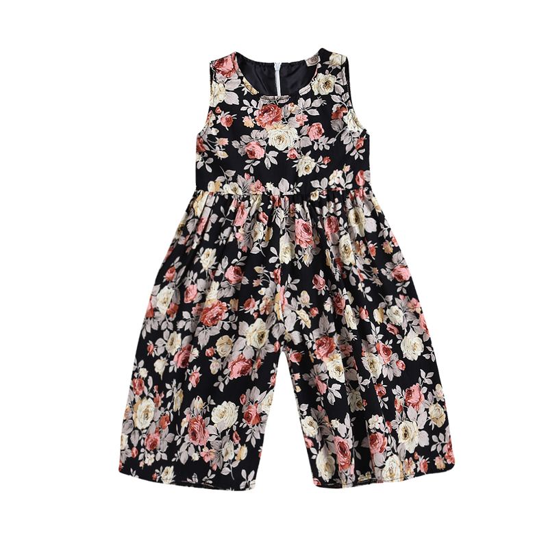 New Fashion Kids Baby Girls Clothing Print Floral Sleeveless Romper Jumpsuit Harem Loose Clothes Outfits