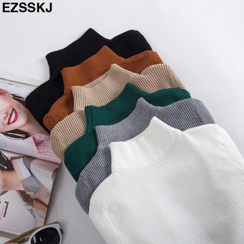 2019 秋冬女性のセータープルオーバーニット弾性カジュアルジャンパーファッションスリムタートルネック暖かい女性のセーターの女性
