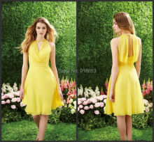 Yellow Color Short Country Style Bridesmaid Dresses A-Line Knee-Length Sleeveless Crew Zipper Comfortable Grass Bridesmaid Gown