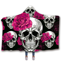 Anti Samely Scarves & Wraps Hooded Blanket 3D Print rose Red peony skull hooded poncho scarf shawl manteau femme hiver