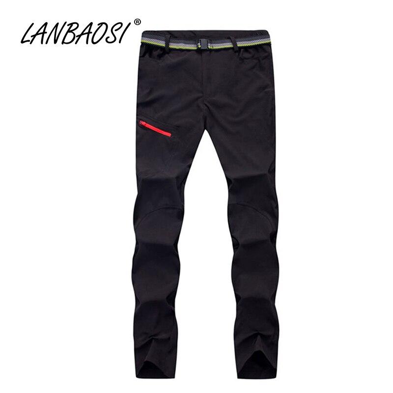 LANBAOSI Outdoorové sportovní Pánské cestovní kalhoty Elastické látky Rychlé schnutí Anti-UV odolné proti vodě Trekking Horolezecké turistické kalhoty