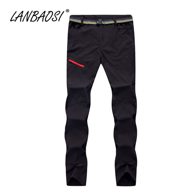 LANBAOSI Outdoor Sports Men's Travel Pants Elastic Fabric Quick Dry Anti-UV Water Resistent Trekking Climbing Hiking Trousers image