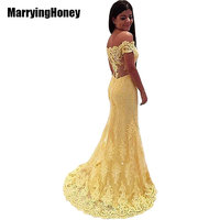 Sexy See Through Off Shoulder Evening Dresses 2017 Yellow Lace Mermaid Long Formal Dress Party Arabic