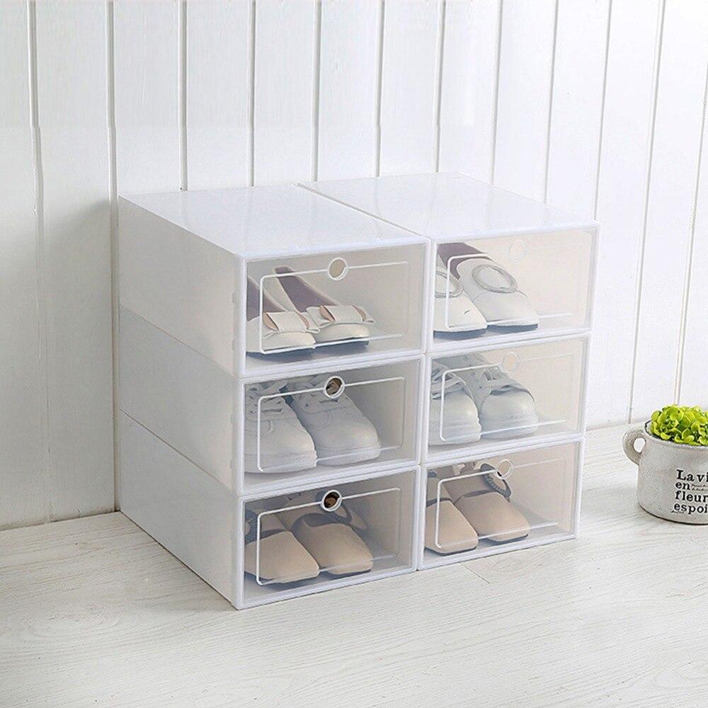 1pc Large Size Eco-Friendly Shoe Storage Box Case Transparent Plastic Rectangle PP Organizer Thickened Drawer