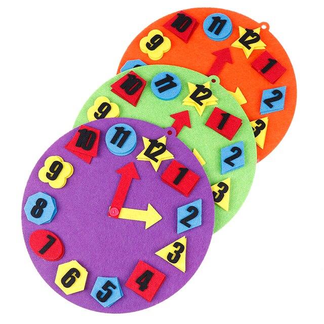 DIY no tejida educación Montessori Digital Reloj cognitivo SIDA juguetes para los niños de enseñanza SIDA matemáticas Juguetes