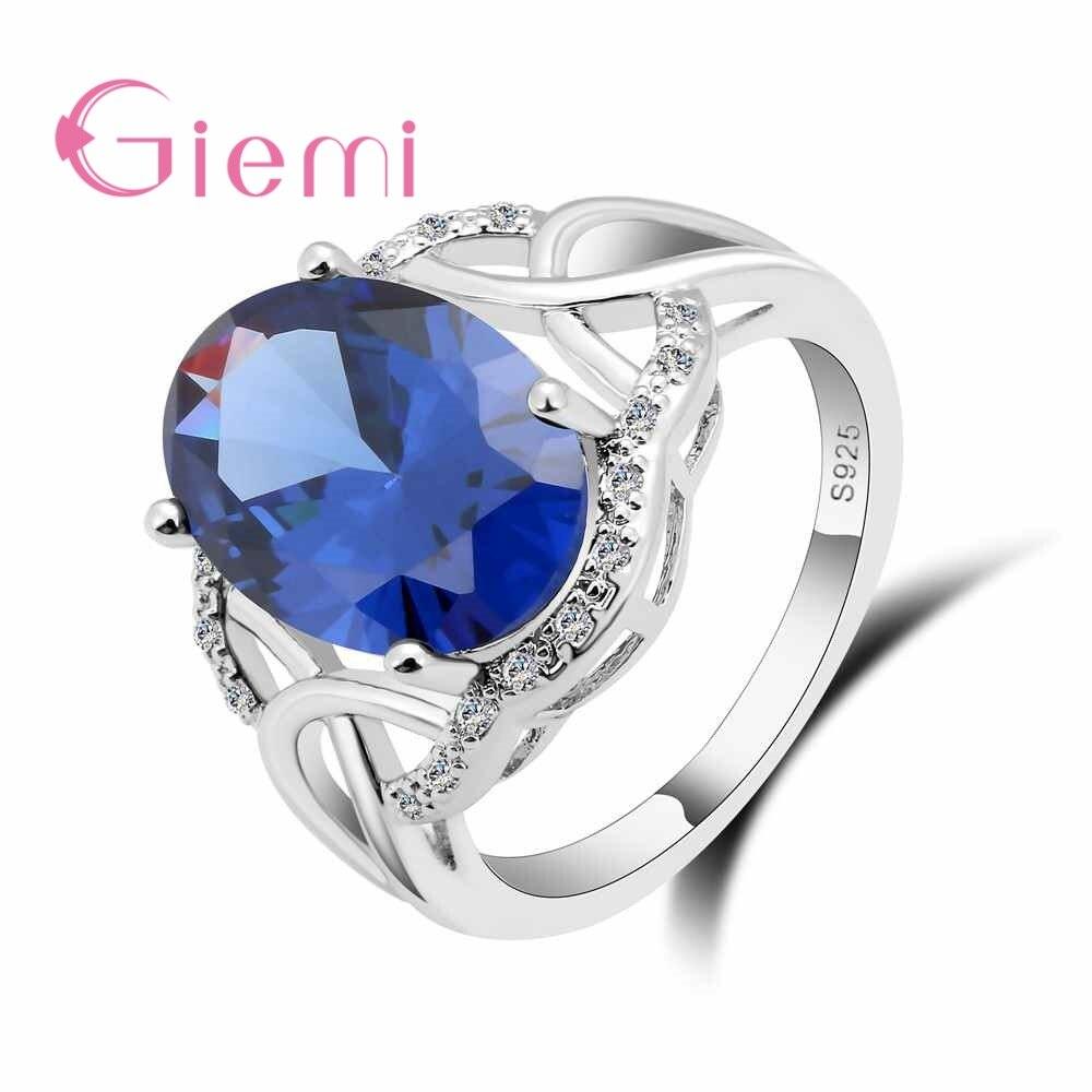 Giemi Charmming овальный камень Дизайн Для женщин свадебные Обещание Кольцо Pure стерлингового серебра 925 Bague Кристалл Леди FingerJewelry