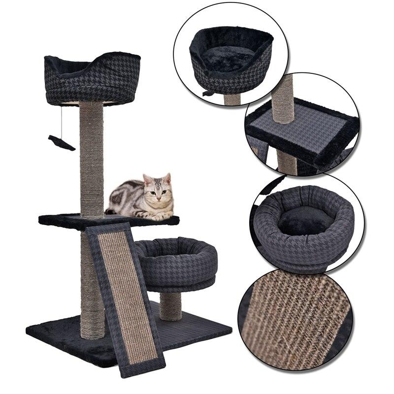 Poteau de rayure multicouche de Sisal de meubles de chat de route de PAWZ multi-fonctionnable avec le cadre sautant d'escalade de faveur de chat de lit de sommeil