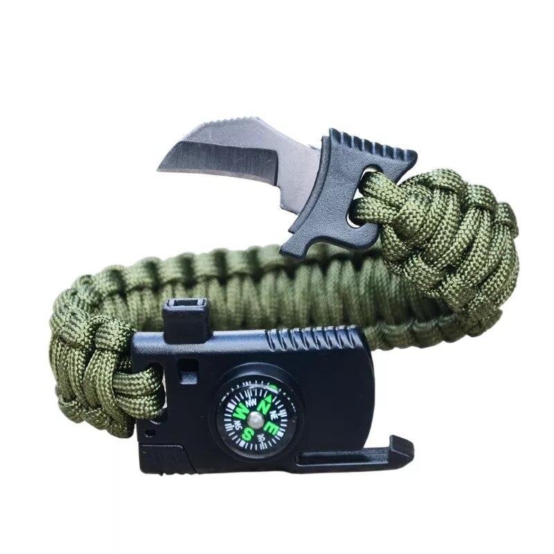 في الهواء الطلق التخييم متعددة الوظائف بقاء سوار مع سكين صافرة البوصلة المشي السفر الإنقاذ Paracord مضفر معصمه أداة