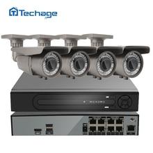 Techage H.265 8CH NVR DVR HD 48 В POE системы видеонаблюдения 2.8-12 мм объектив с переменным фокусным расстоянием 4MP IP камеры 2592*1520 ИК Открытый комплект видеонаблюдения
