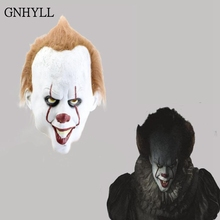 GNHYLL Movie Stephen Kings It 2 Joker Pennywise Mask Full Face Horror Clown Latex Halloween Party Hoorible Masks Cosplay Prop