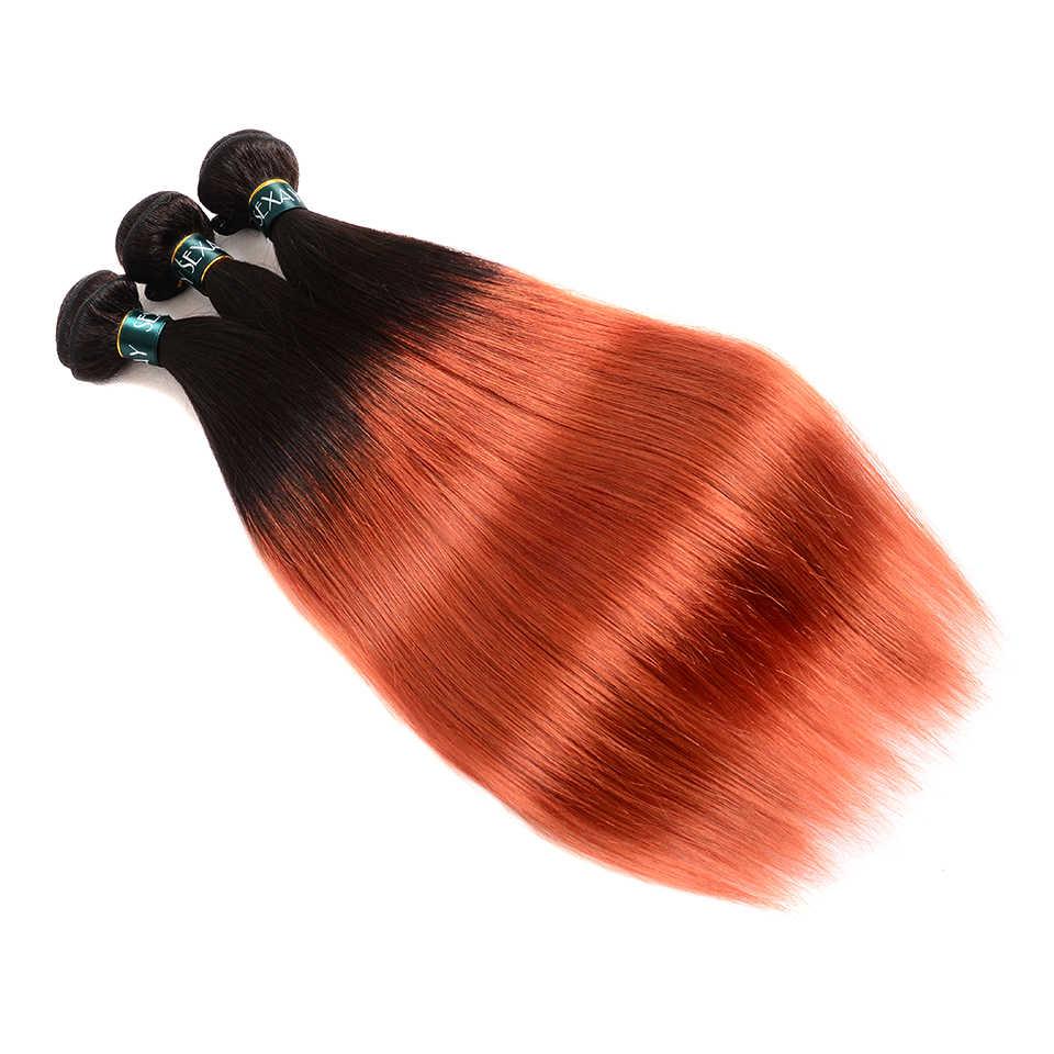 Sexay 3 zestawy brazylijski proste włosy Ombre pomarańczowy startowy ludzkie włosy tkania prosto 2 Tone T1B/#350 wstępnie -kolorowe ludzkich włosów