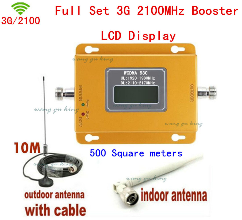 LCD 70db 3G WCDMA 2100Mhz 3G Repeater Mobile Phone 3G Signal Booster WCDMA Signal Repeater Amplifier & Cable Sucker Antenna