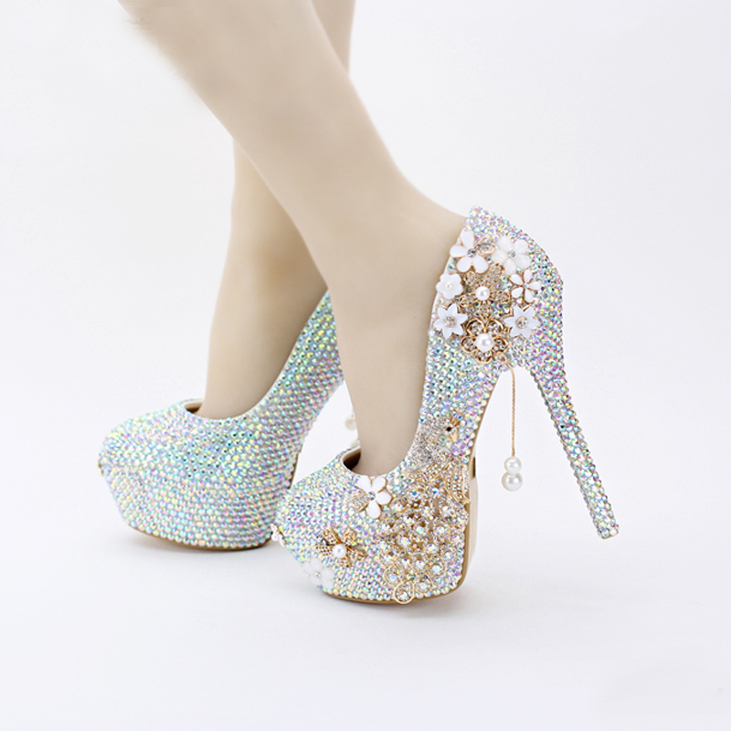 Blue Wedding Shoes With Bling