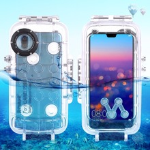 PULUZ for Huawei P20 / P20 Pro Diving Case Mate 20 Pro 40m/130ft Waterproof Housing Photo Video Take Underwater Snorkeling Cover at chromed gear shift knob for peugeot 307 for citroen c4 triumph sega car gearshift shifter lever arm pen pomo stick headball
