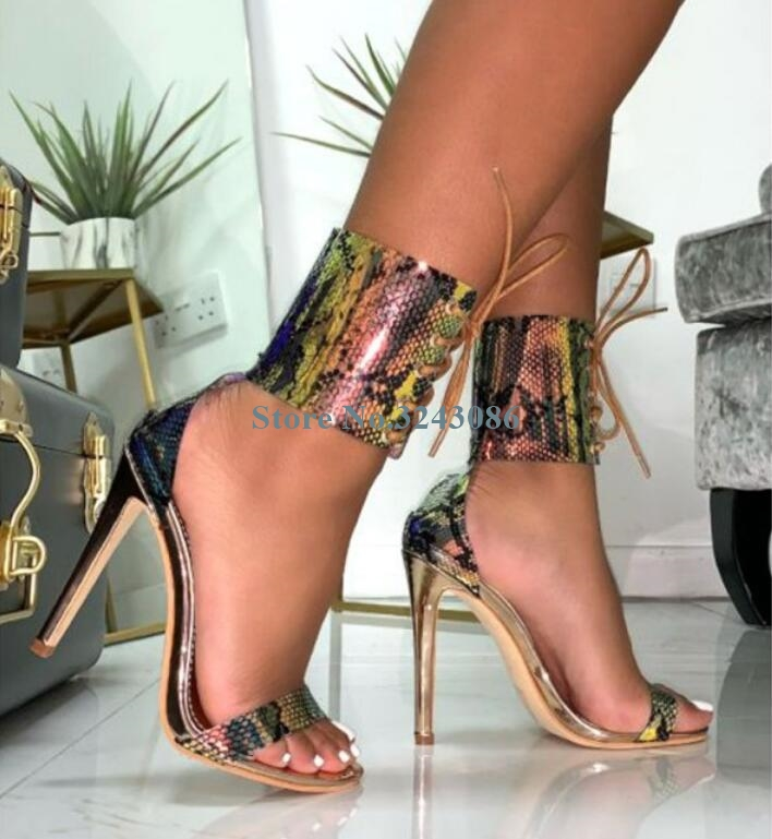 Snakeskin Transparent PVC Ankle Strap Thin High Heel Sandals Single Strap Stiletto Heel Sandals Sexy Summer Ladies Party Shoes